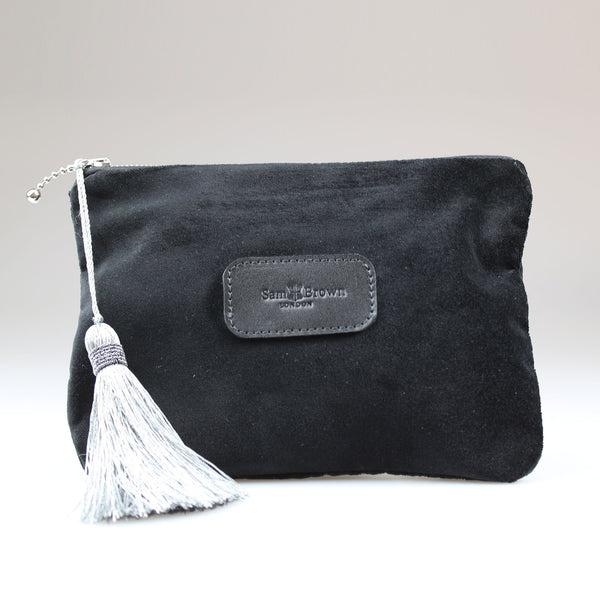 Velvet Evening Bag Black with Silver tassel large Sam Brown London