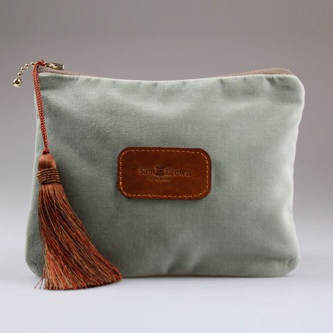 Velvet Evening Bag light green with bronze tassel large Sam Brown London