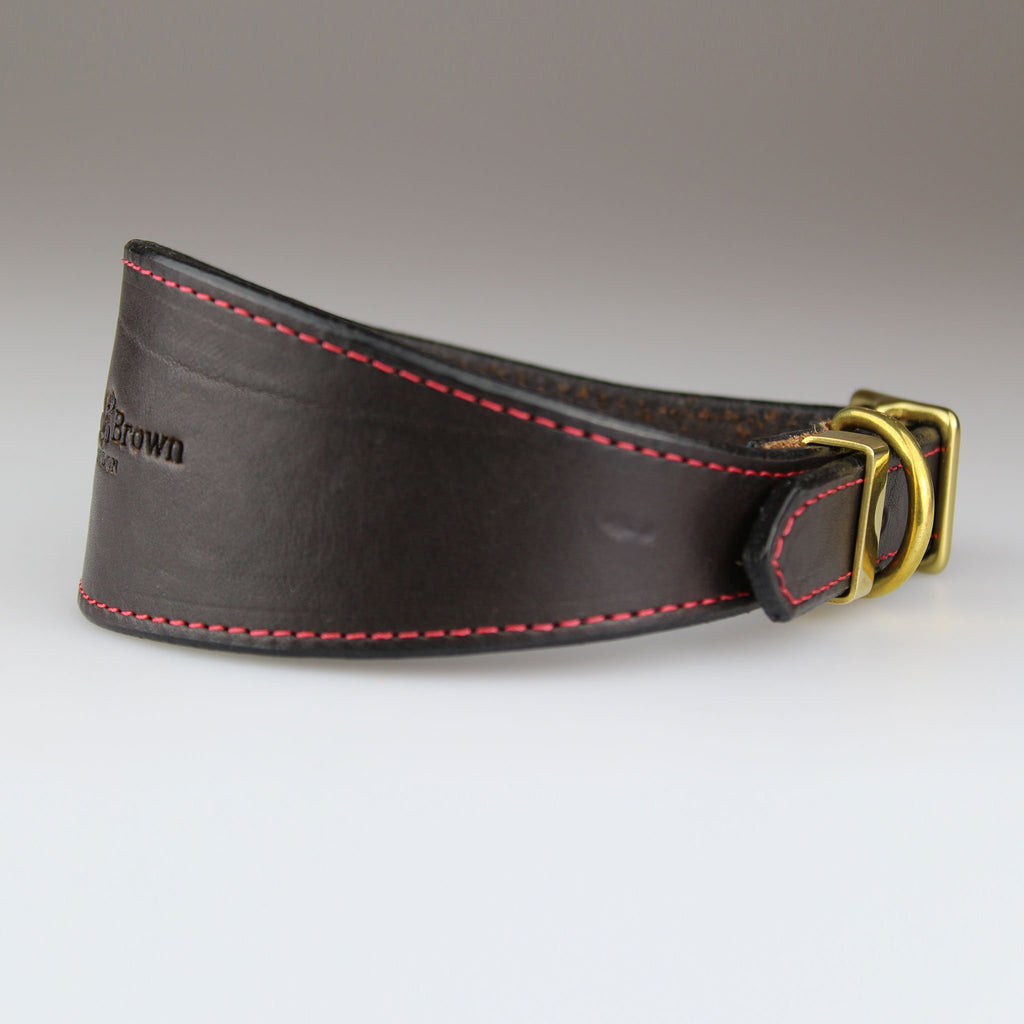 whippet greyhound dog collar in brown made in Britain with English bridle leather Sam Brown London