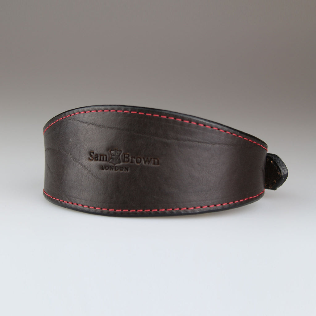 elegant whippet greyhound dog collar in brown made in Britain with English bridle leather Sam Brown London