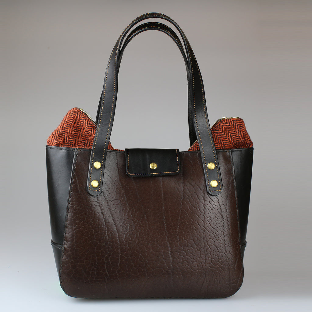 back Bromley Bag Brown & black english bridle leather made by Sam Brown London Wiltshire UK