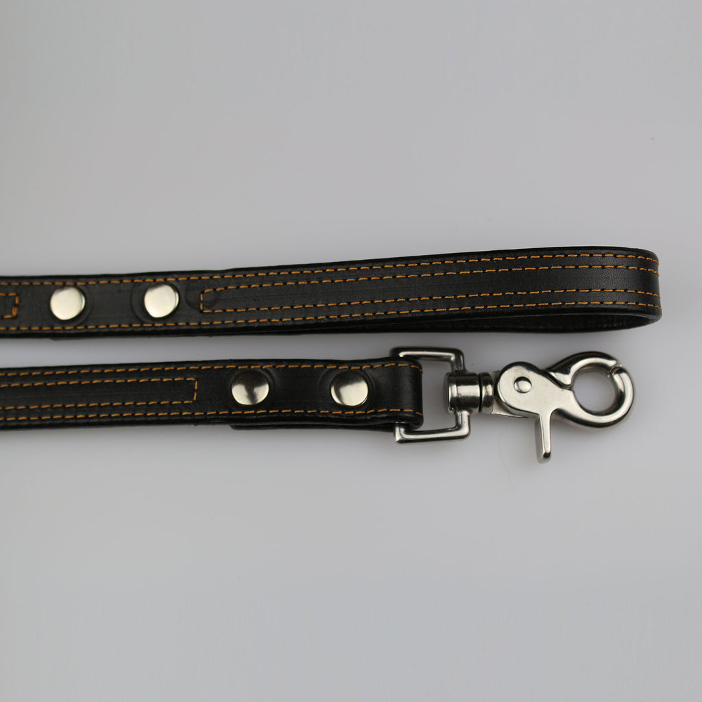 black leather with yellow stitch detail nickel fixings made UK by Sam Brown London