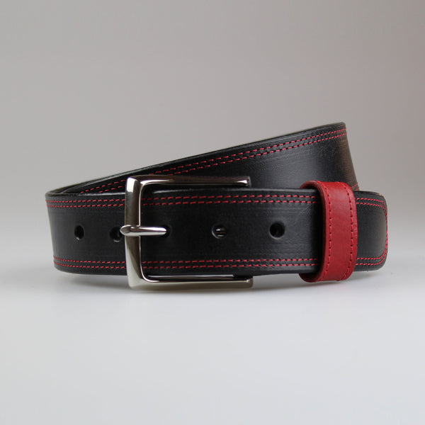 Sam Brown London twin stitched contrast in black English bridle leather red stay & red thread