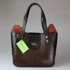 front Front Bromley Bag Brown & black english bridle leather made by Sam Brown London Wiltshire UK