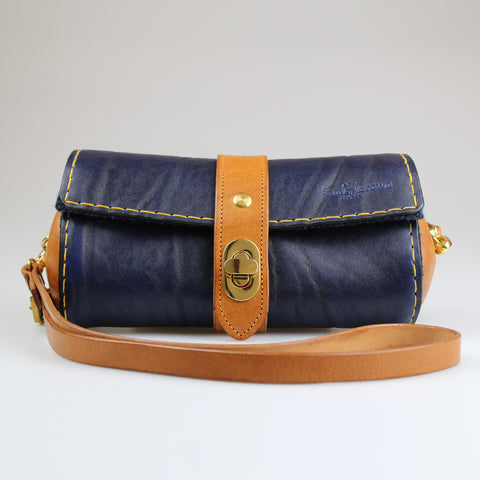 Ladies Women Clutch and across body bag in Blue & Tan hand made by Sam Brown London UK