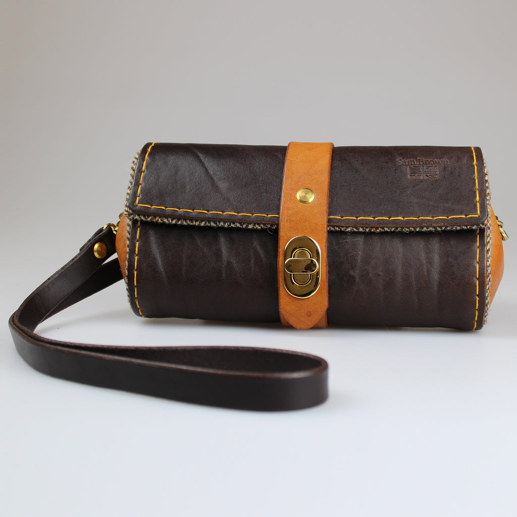 front The Chelsea Clutch & Across Body Bag Brown and Tan English Bridle leather by Sam Brown London Wiltshire UK
