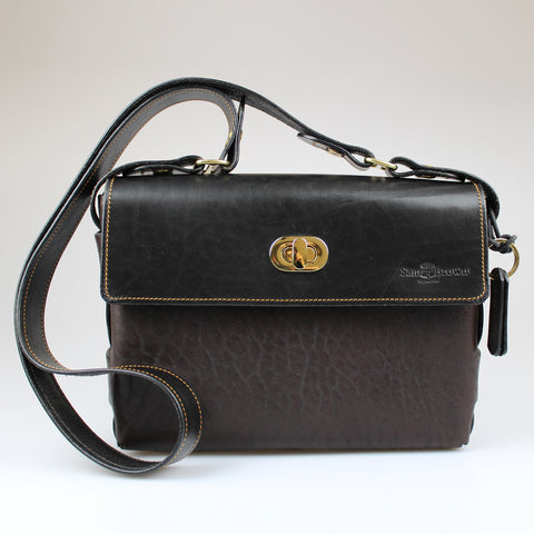 front The Poacher Across Body Bag Black & Brown English Bridle leather by Sam Brown London Wiltshire UK