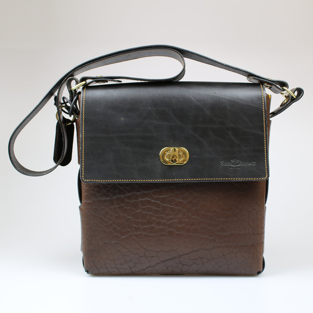 front The Soho Across Body Bag Black & Brown English Bridle leather by Sam Brown London Wiltshire UK