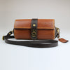 Ladies womens Hand held english leather clutch bag with detachable & adjustable across the body strap