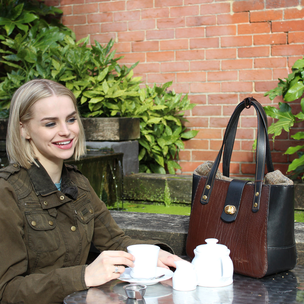 lifestyle The Chatsworth Bag or Bromley Bag made by Sam Brown London in full grain English leather