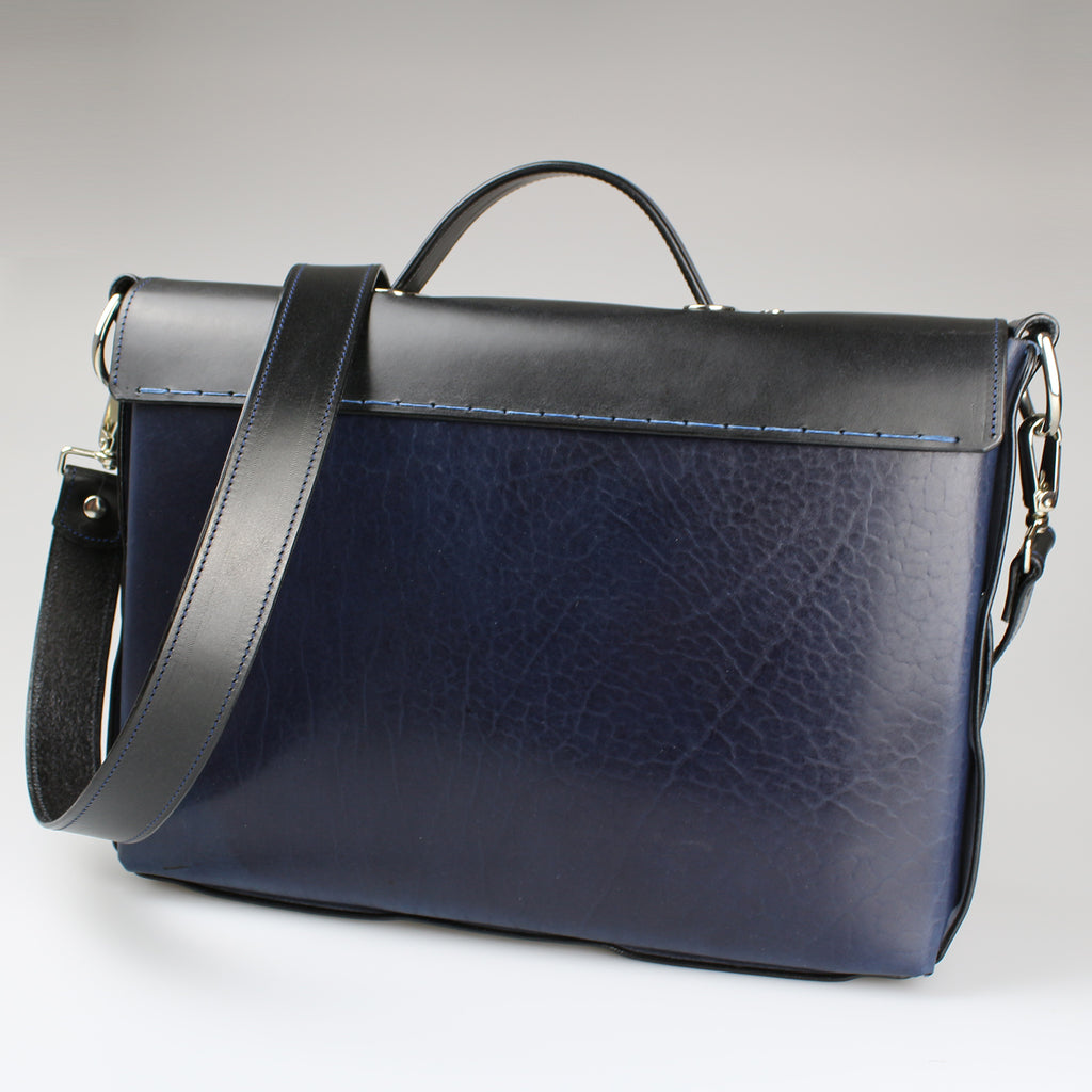 The Sam Brown Briefcase  Blue & Black