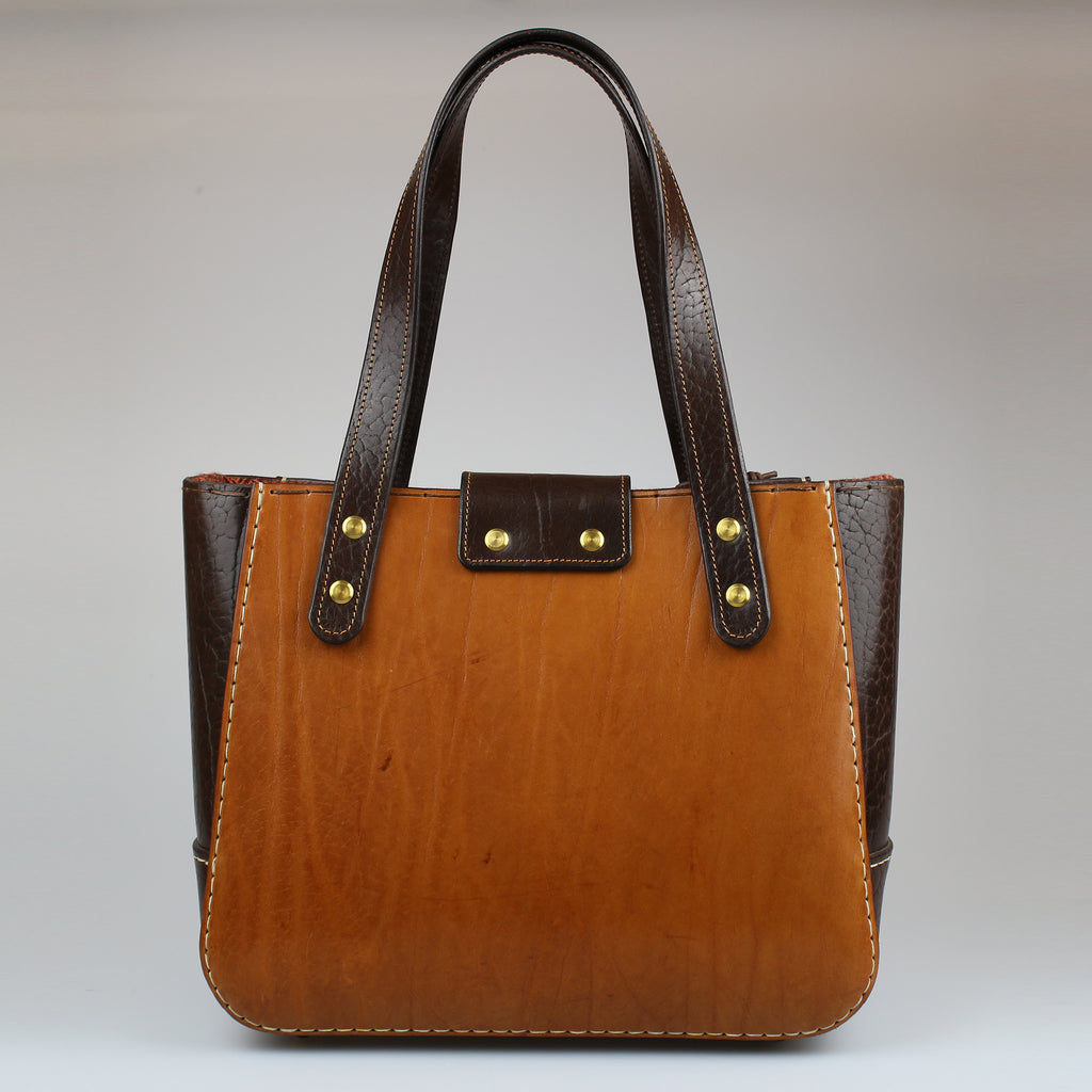 rear Bromley or Chatsworth Bag Tan & brown english bridle leather made by Sam Brown London Wiltshire UK