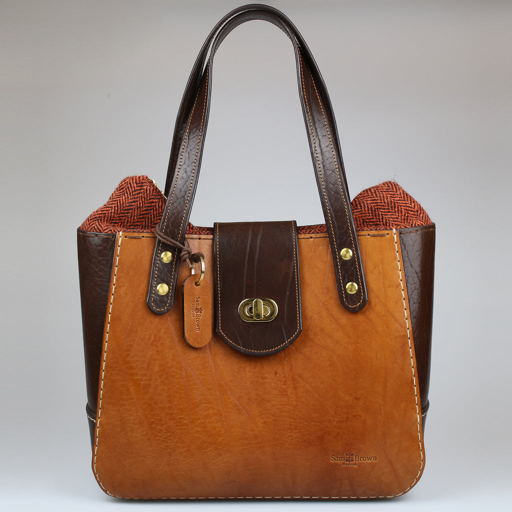 Front Bromley or Chatsworth Bag tan & Brown english bridle leather made by Sam Brown London Wiltshire UK