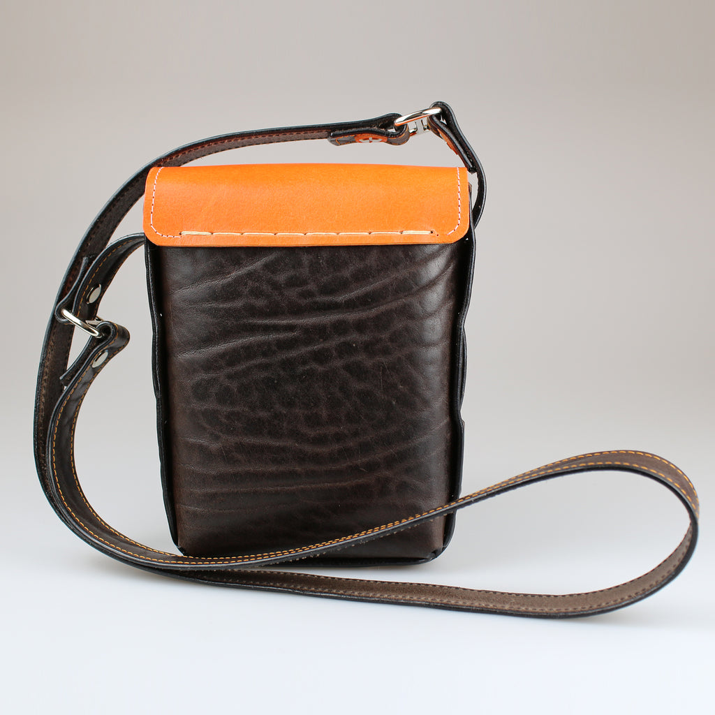 rear Gamekeeper Across Body Bag Orange & Brown English Bridle leather by Sam Brown London Wiltshire UK