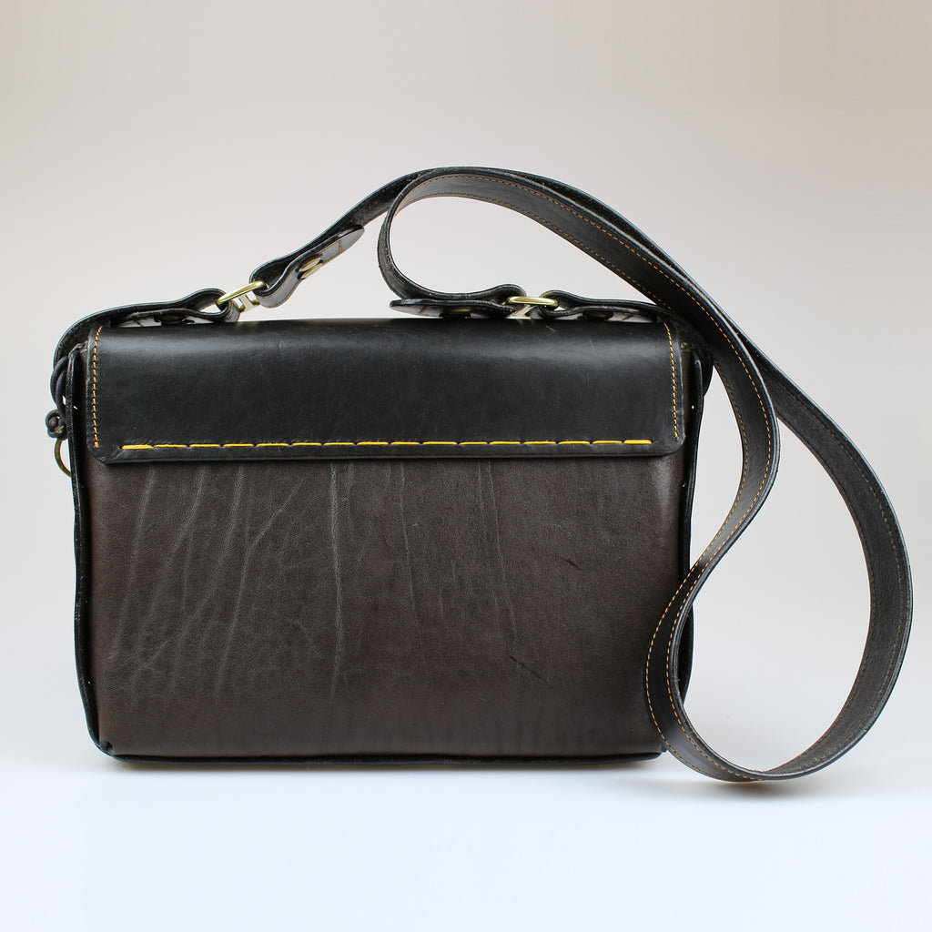 rear The Poacher Across Body Bag Black & Brown English Bridle leather by Sam Brown London Wiltshire UK