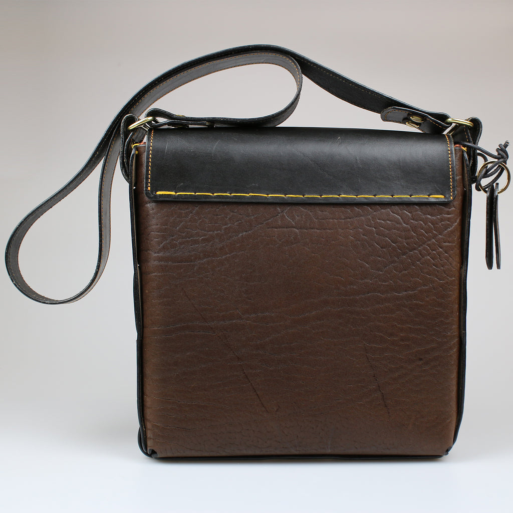 rear front The Soho Across Body Bag Black & Brown English Bridle leather by Sam Brown London Wiltshire UK