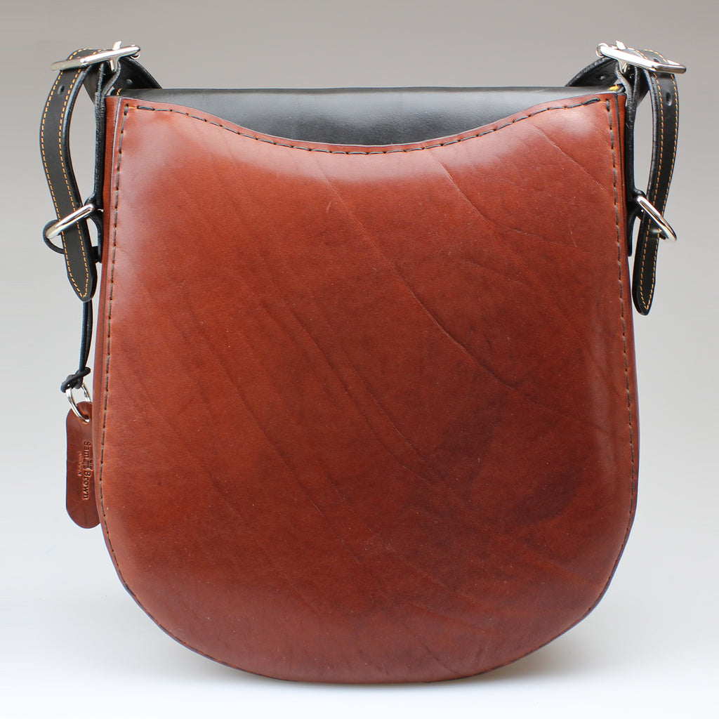 rear view Classic Leather Saddle Bag shoulder strap with press stud insert for phone, pen & tech to your specification