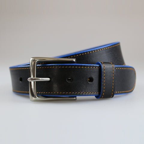 Handcrafted by Sam Brown London Black leather belt with hand painted blue edge & yellow stitch detail