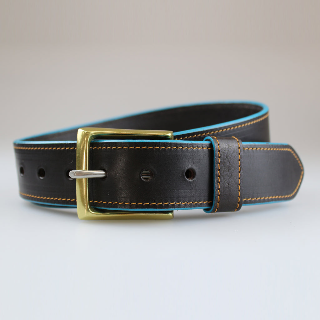 Handcrafted by Sam Brown London Black leather belt with hand painted aqua edge & yellow stitch detail