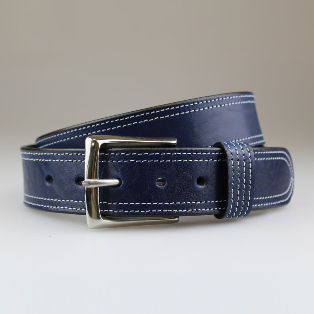 Unisex Jean belt in Blue leather with twin white thread detail made in UK by Sam Brown London