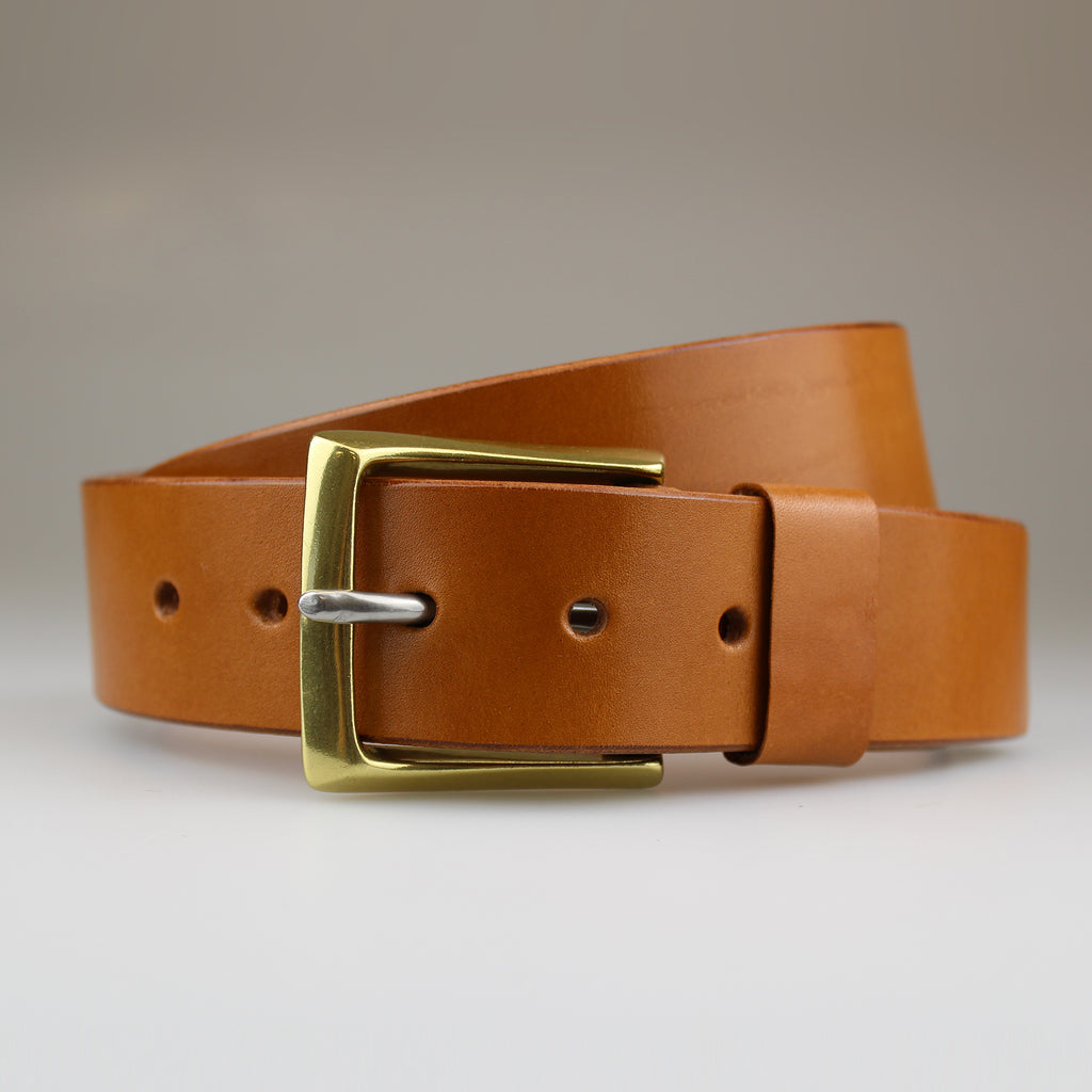 CLASSIC tan jean belt in sustainable English bridle leather made by hand in Wiltshire UK