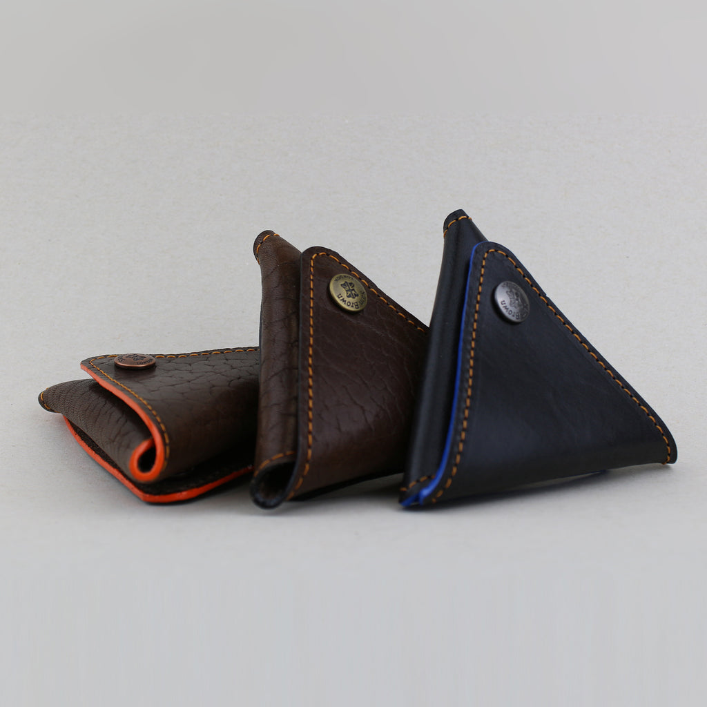 Coin pouch case in brown English leather sustainable made in England UK Sam Brown London