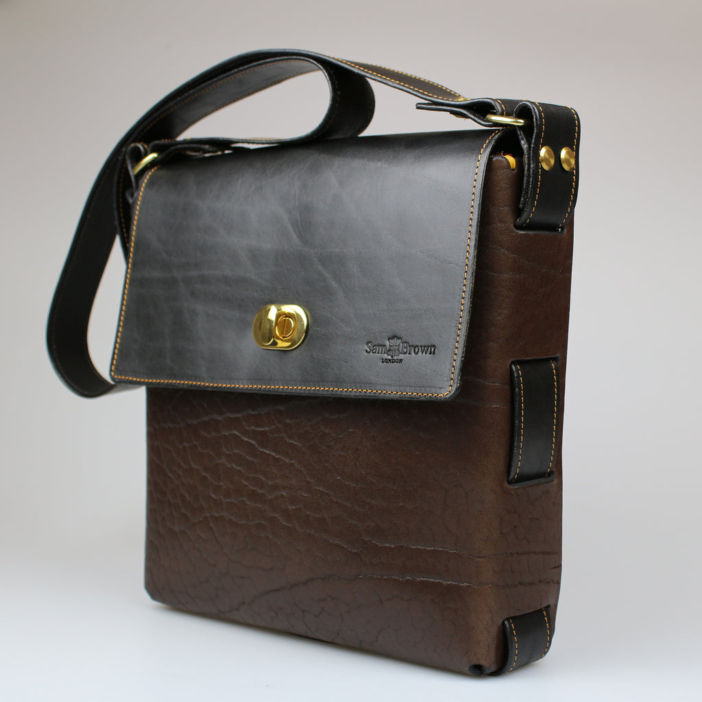 side front The Soho Across Body Bag Black & Brown English Bridle leather by Sam Brown London Wiltshire UK