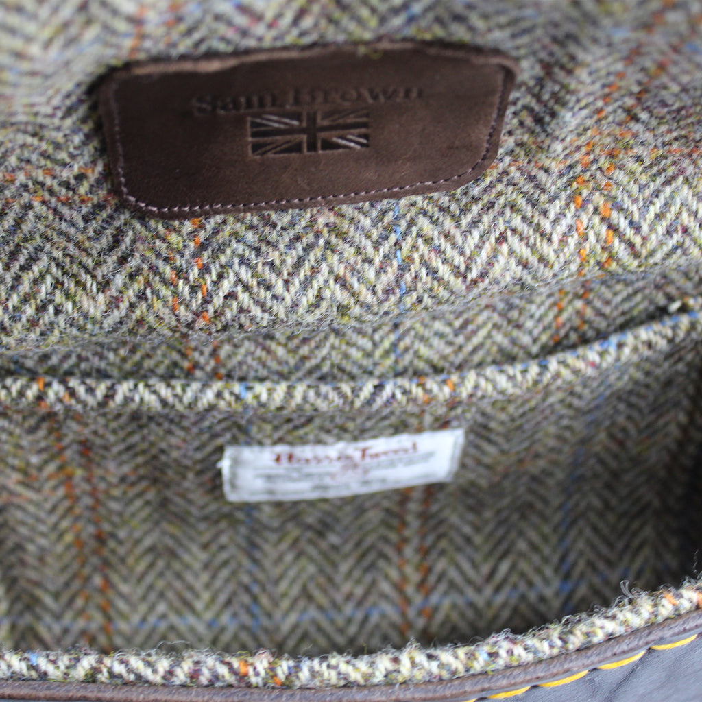 v2 Harris Tweed lining soft rust blue overcheck Sam Brown London UK
