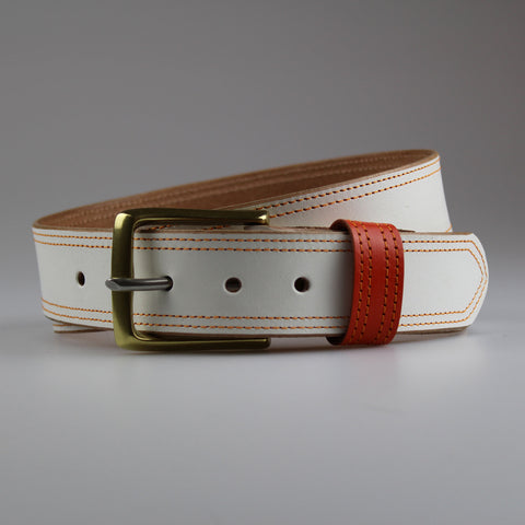 Sam Brown London twin stitched contrast in white English bridle leather orange stay &thread
