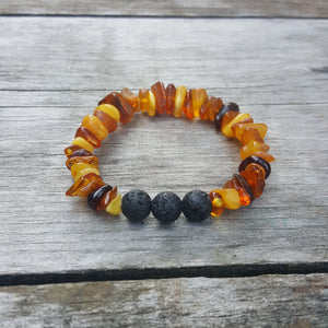 "7"" Baltic Amber Chips Lava Stone Adult Bracelet on Stretch String"