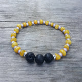 "7""  Baltic Amber Lava Stone & Magic Beads Adult Bracelet on Stretch String"