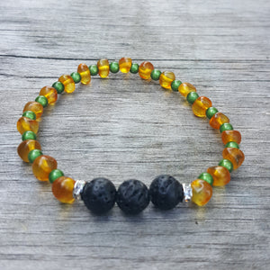 "7"" Baltic Amber Lava Stone Adult Bracelet on Stretch String"