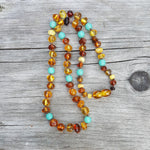 "18"" Adult Baltic Amber beads with Turquoise Coloured Beads Necklace"