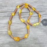 "16"" Teen/Small Adult Honey Baltic Amber Large bead and Hazelwood Necklace."