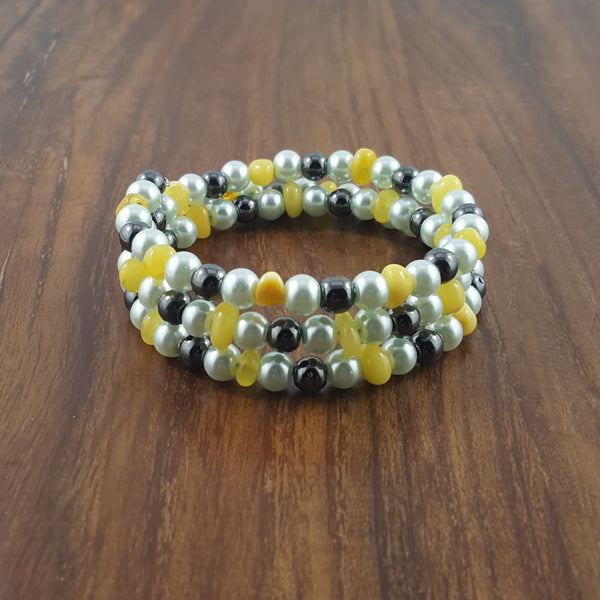 Adult Butter Baltic Amber Bracelet on Memory Wire with Magic Beads Accents.