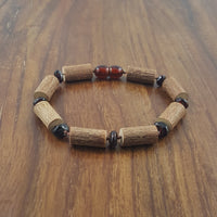"8"" Large Hazelwood Bead Bracelet with Dark Cherry Baltic Amber."