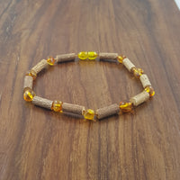 "10"" Adult Anklet with Honey Baltic Amber and Hazelwood"