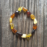 "7"" Adult Baltic Amber Multicolour large bead Bracelet on Stretch String"