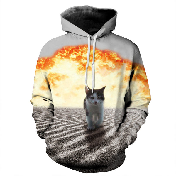 New Fashion Women/Men Hoodies 3D Printed Kitty Cat Sunset Long Sleeve Sweatshirt With Large Pocket Casual Loose Couples Pullovers Jacket