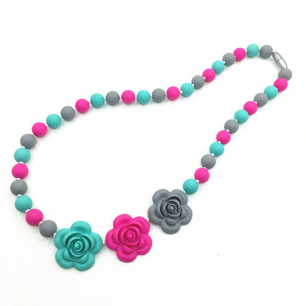 BPA Silicone Teeth Necklaces  Silicone rose Bead Teething/nursing Necklace -silicone flower necklaces, baby chewable necklace