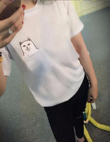 Funny Middle Finger White Cat in Pocket T-shirts Harajuku Short Sleeve T Shirt Women Plus Size Tshirt Tops In Gray