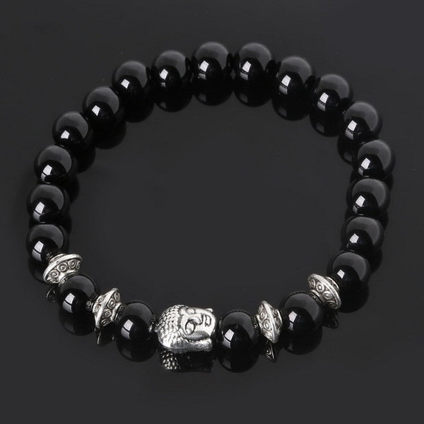 8mm Natural Stone Beads Antique Silver Plated Buddha Charms Lava Onyx beads Bracelet