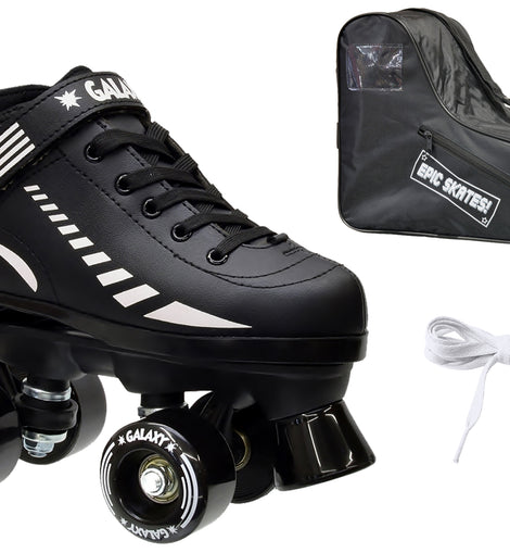Epic Galaxy Elite Black Quad Roller Skates Package