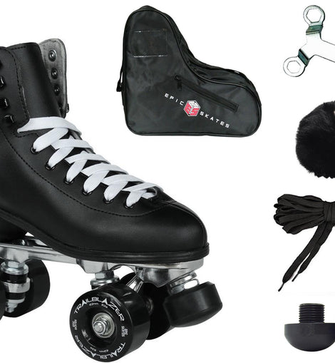 Epic Classic Black Quad Roller Skates Package