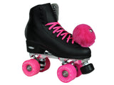 Epic Classic Black & Pink Quad Roller Skates Package