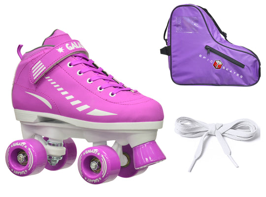 Epic Galaxy Elite Purple Quad Roller Skates Package