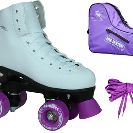Epic Purple Princess Quad Roller Skates Package