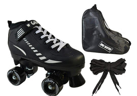 Epic Black Galaxy Elite Indoor / Outdoor Quad Roller Speed Skate 3 Pc. Bundle