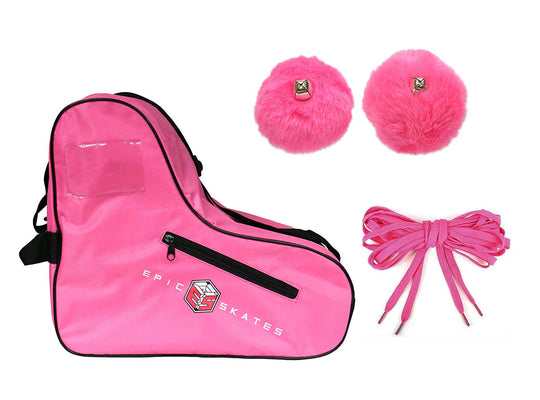 Epic Pink Roller Skate Accessory 3 Pc. Bundle w/Bag, Laces, Pompoms