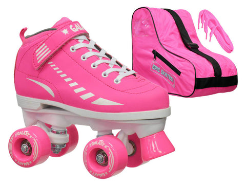 Epic Galaxy Elite Pink Quad Roller Skate 3 Pc. Bundle w/ Bag & Extra Laces (Pink & Black)